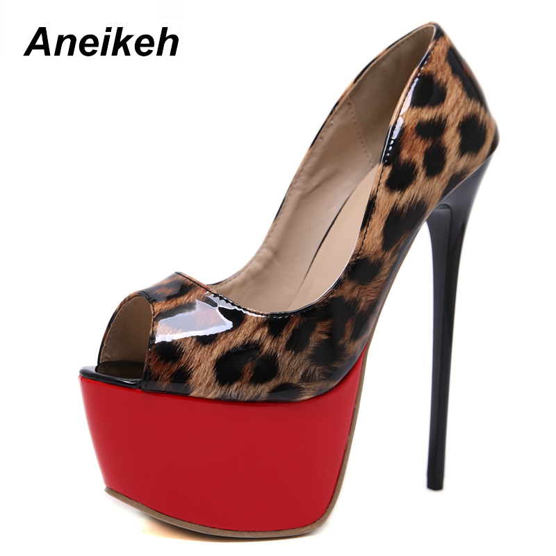 Aneikeh NEW Flower Color Leopard Print Sexy High Heel Platforms Basic Pumps Shoes Woman Fetish Peep Toe Stripper Nightclub Shoe