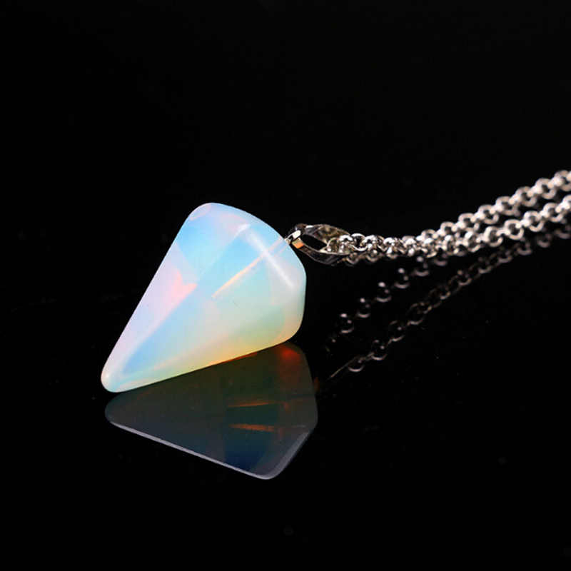 Hot Choker Necklace Women Hexagonal Columns Natural Stone Pendant Necklaces Tapered Section Pendulum Crystal Valentines Day Gift