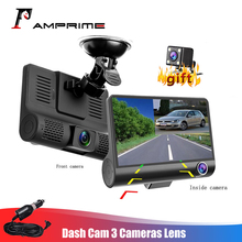 Автомобильный видеорегистратор AMPrime с тремя объективами, 4 дюйма, FHD, видеокамера с широкоугольным углом обзора 170 градусов, g датчик и видеокамера с ночным видением