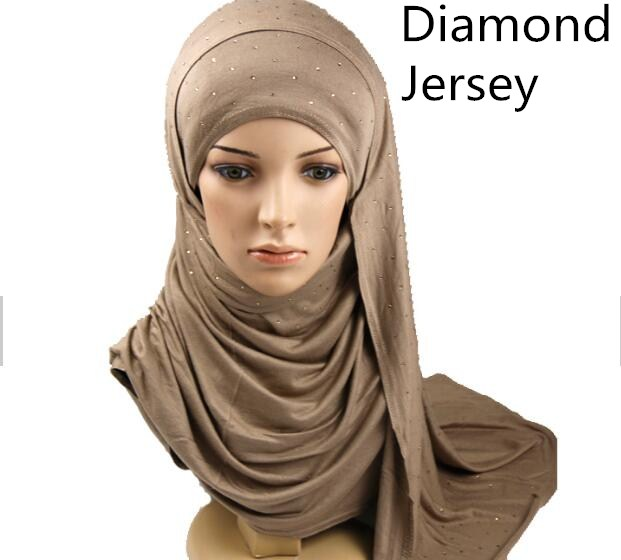 U8 10pcs High Quality Diamond Cotton Muslim Headscarf Instant Hijab Jersey Scarf Femme Musulman Hijabs Islamic Shawls And Wraps