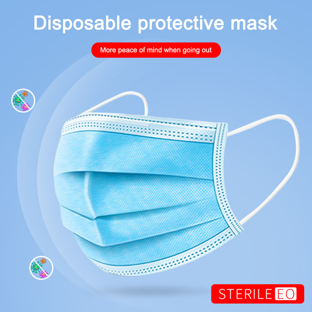 100pcs Blue Disposable Medical Mask Prevent Flu 3-Ply Filter Surgical Mask Health Protection Antibacterial  Masks Fast Delivery