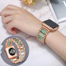 Strap For Apple Watch Band 38/42mm Bracelet iwatch 5 band 44/40mm correa apple watch Series 4/3/2/1 Emerald Jade Stainless Steel