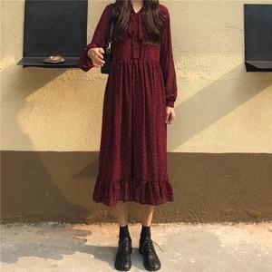 BGTEEVER Elegante Tupfen Druck Frauen Chiffon-Kleid Vintage Lose Lange Kleid Spitze-up Weibliche A-line Vestidos femme 2020 frühling