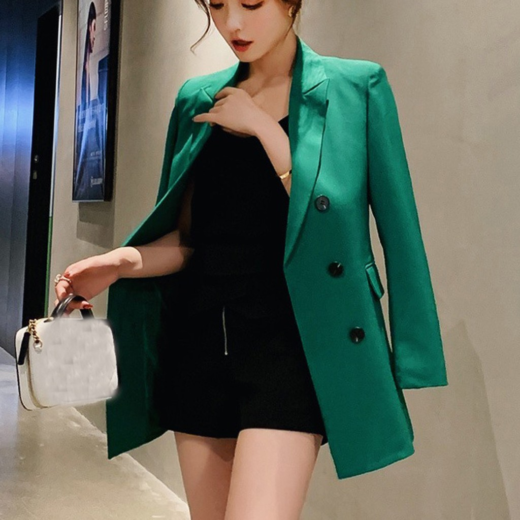 Fashsiualy S-2XL Black,green,blue,navy Classic Jacket Office Jacket Stylish Jacket Button Long Sleeve Suit Blouse Loose Coat 805