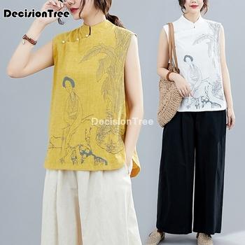 2021 cheongsam kobiet bluzka koszula w stylu chińskim elegancka koszulka bez rękawów kobiet topy chińska koszula qipao cheongsam bluzka tanie i dobre opinie DecisionTree COTTON Linen CN (pochodzenie) WOMEN Suknem