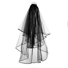 Черная свадебная фата двухслойная белая длинная для свадьбы