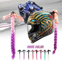 22Inch 9 Colors Motorcycle Women Helmet Twist Braids Ponytail Gradient Ramp Hair Punk