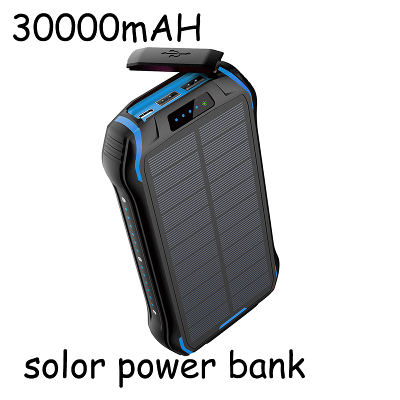 Solar Power Bank Waterproof Powerbank Battery Powerbank Portable Charger LED LCD Real Capacity 30000 MAh For All Smart Phone