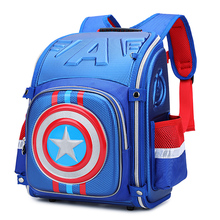3D NEW boy cartoon Folding school bag students waterproof backpack travel Stationery bags Captain America children school bag