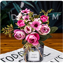 AA 1PC Artificial Peonies Silk Flowers Vintage Style Peony Bouquet Realistic Decorative Fake Flowers Faux faux gem flowers layered bracelets