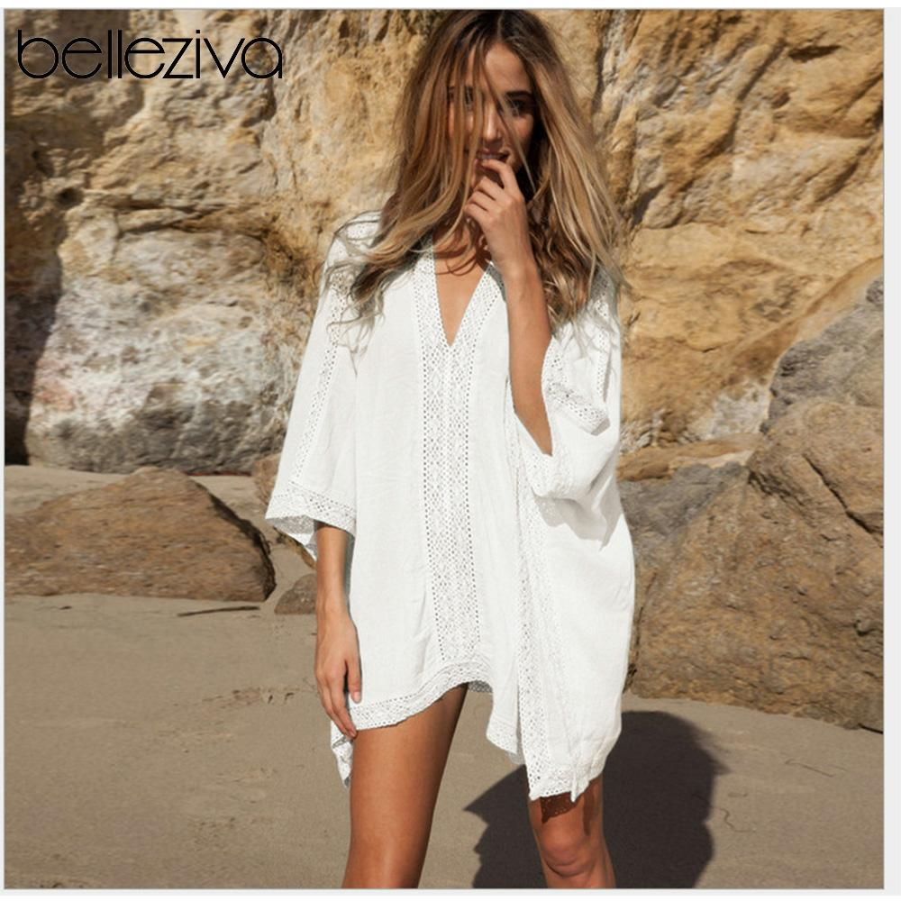 Belleziva Cover Up Cotton Swim Cover Up Beach Sunscreen Laciness Blouse Dress Swim Cover Up Tunic Beach Dress Shirt 2020