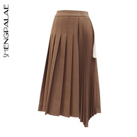 SHENGPALAE New 2019 Spring Autumn Japan Korea Style Women Knee length Empire Waist Irregular Solid Pleated A line Skirt FR145