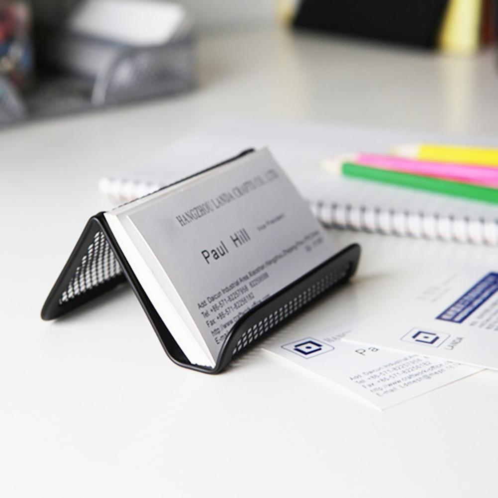 Display Stand Desktop Accessories Durable Metal Mesh Portable Fashion Business Card Holder Home Desk Storage Organizer Office