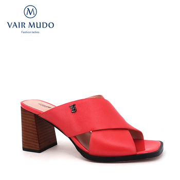 VAIR MUDO 2020 summer Women Sippers Genuine leather  comfortable open toe Thick  high-heeled lady pink square-heeled sandals LT1