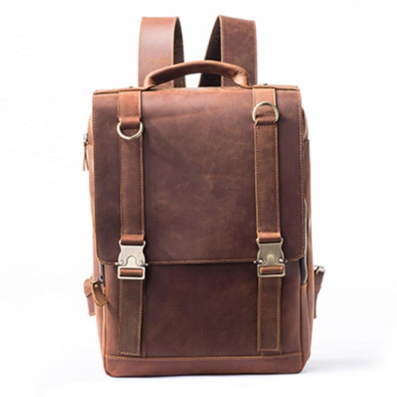 High Quality Crazy Horse Cowhide Men Backpack Knapsack Male Computer Bags Travel Bag Vintage Daypack Genuine Leather Rucksack