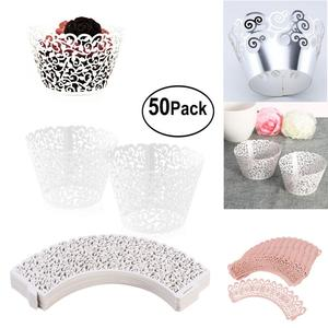 Image 1 - 50pcs Paper Cut Cupcake Wrappers Decor White Baby Shower Wrap Cup Cake Wrapper Cake Decorating Tools FOR Wedding Party Supplies