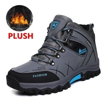 العلامة التجارية الرجال الشتاء الثلوج الأحذية الجلدية للماء سوبر دافئ الرجال جودة عالية الذكور المشي أحذية العمل أحذية 39-47 2