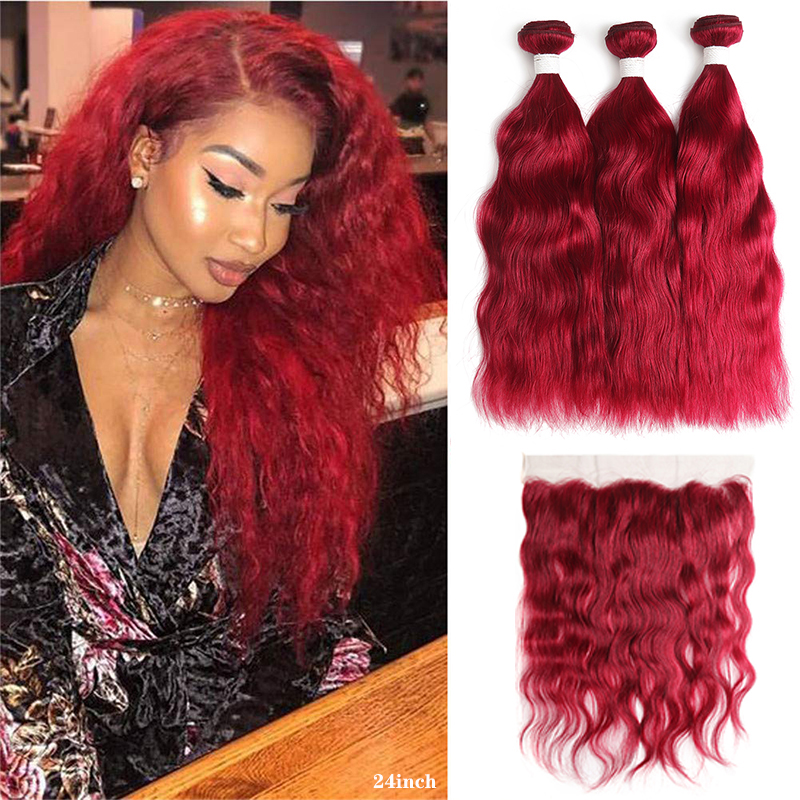 99J/Burgundy Human Hair Bundles With Frontal 13x4 KEMY HAIR Brazilian Natural Wave Hair Weave Bundles With Closure Non-Remy Hair
