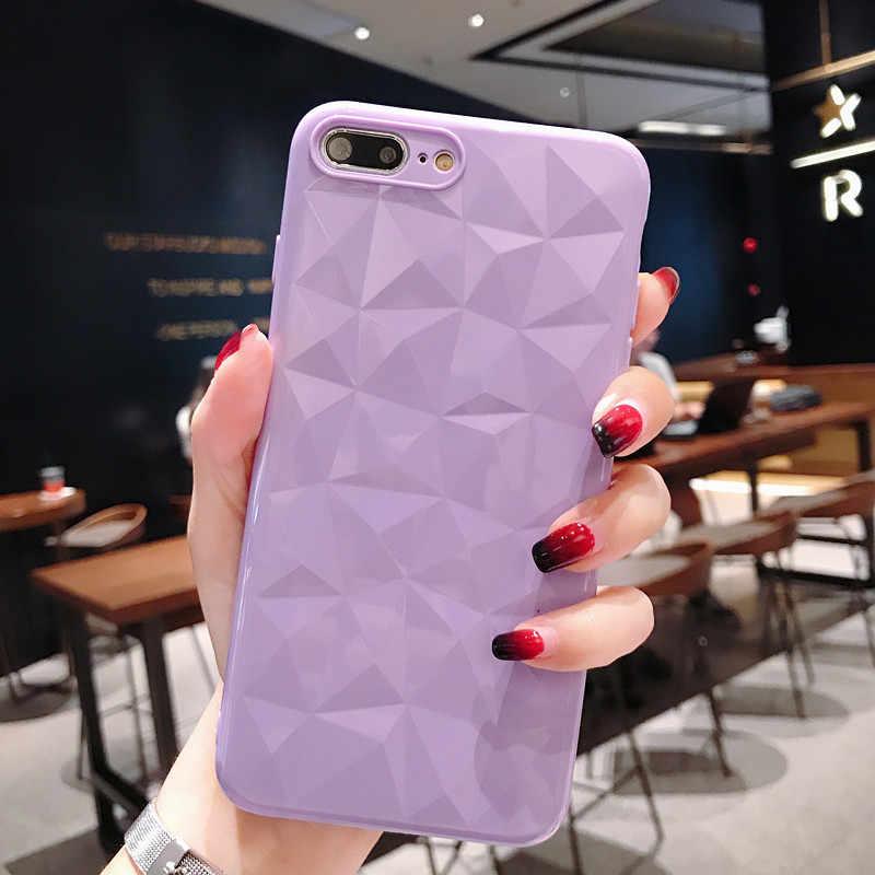 Funda amarilla con textura de diamante 3D para IPhone 8, 7, 6, 6 s, Plus suave para IPhone X 7P 8P XR XS MAX funda protectora Ultra delgada
