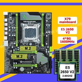 HUANANZHI X79 LGA2011 เมนบอร์ดส่วนลด X79 เมนบอร์ด M 2 สล็อต SSD CPU Intel  Xeon E5 2650 V2 RAM 32G (4 * * * * * * * 8G)