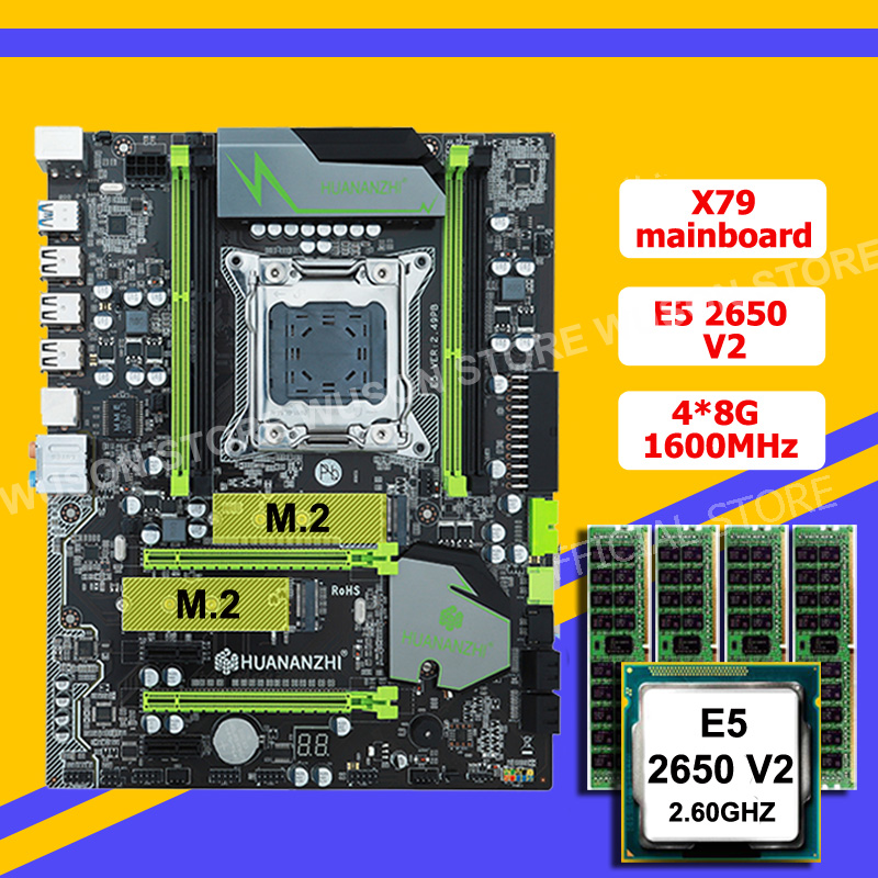 HUANANZHI X79 LGA2011 Motherboard Bundle Discount X79 Motherboard With M.2 SSD Slot CPU Intel Xeon E5 2650 V2 RAM 32G(4*8G)