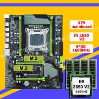 Huananchi X79 LGA2011 paquete de placas base descuento X79 placa base con ranura m2 SSD CPU Intel Xeon E5 2650 V2 RAM 32G (4*8G)