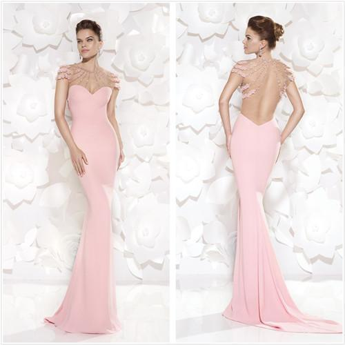 2018 Glamorous Sheer Crew Pink Evening Pleat Rhinestones Mermaid Sexy Beads Backless Formal Gown Mother Of The Bride Dresses
