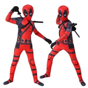 Image 2 - Kids cosplay Costume Boys cosplay Superhero Deadpool Costumes mask suit Jumpsuit Bodysuit Halloween party Costume For boy girls