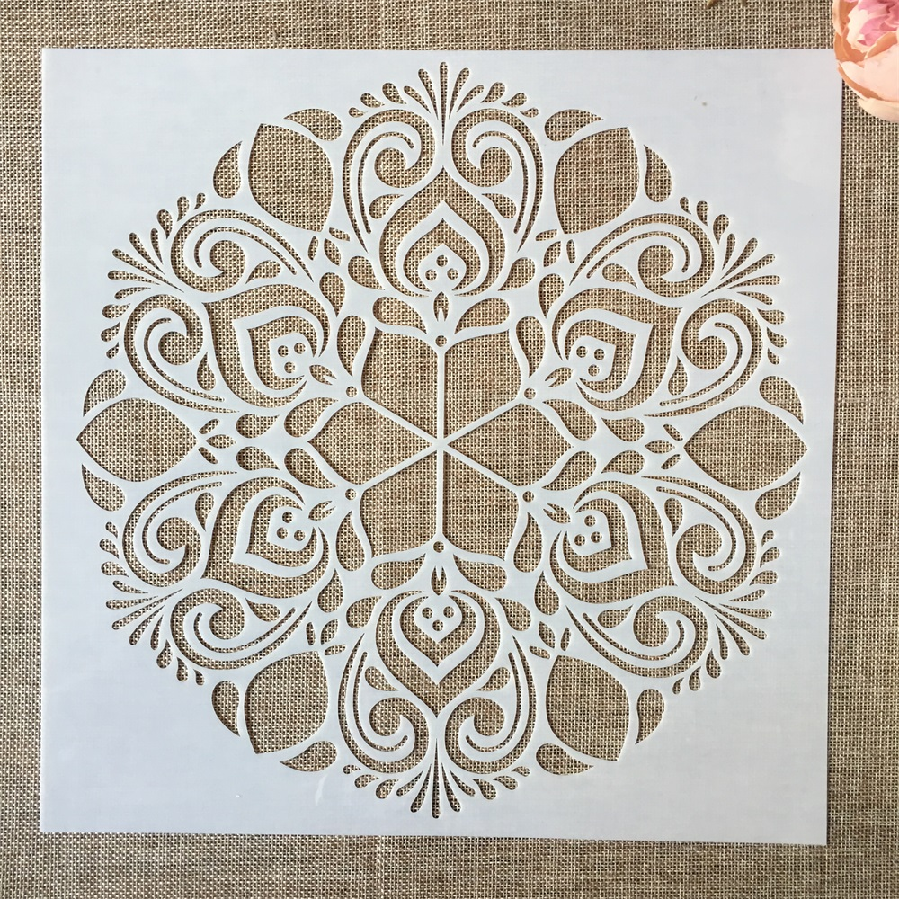 1Pcs 30*30cm Big Flower Round Mandala DIY Layering Stencils Painting Scrapbook Coloring Embossing Album Decorative Template