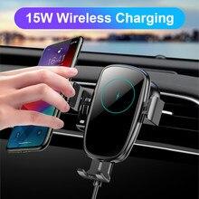 Bezprzewodowa ładowarka samochodowa Qi 15W dla iphone'a indukcyjna ładowarka usb automatyczne mocowanie szybkie ładowanie Wirless dla iPhone 11 Samsung SIKAI