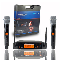 STARAUDIO Professional 2CH UHF Wireless Microphone System 2 Channel Handheld Microphone For Home Party KTV Stage Audio SMU-0220A