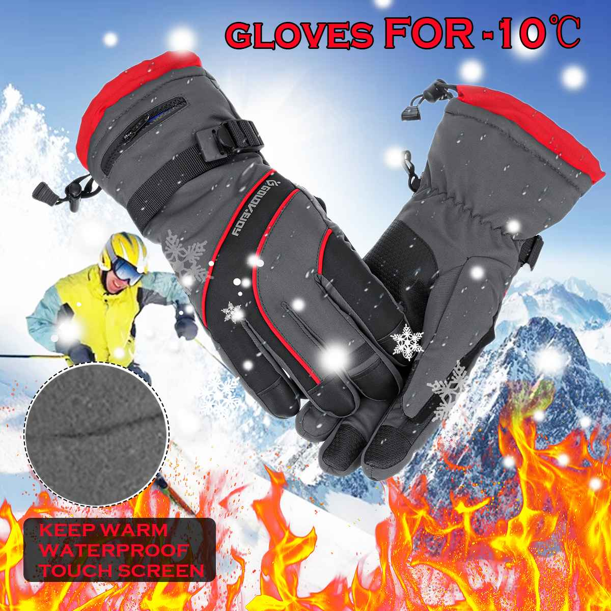 2020 Men's Ski Gloves Fleece Snowboard Gloves Snowmobile Motorcycle Riding Winter Gloves Windproof Waterproof Unisex Snow Gloves