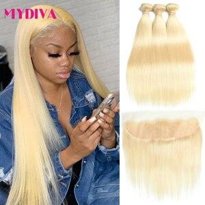613 пряди с фронтальным бразильские прямые волосы 3 пряди с закрытием волосы Remy, блонд, человеческие волосы пряди с фронтальной 13*4 Mydiva
