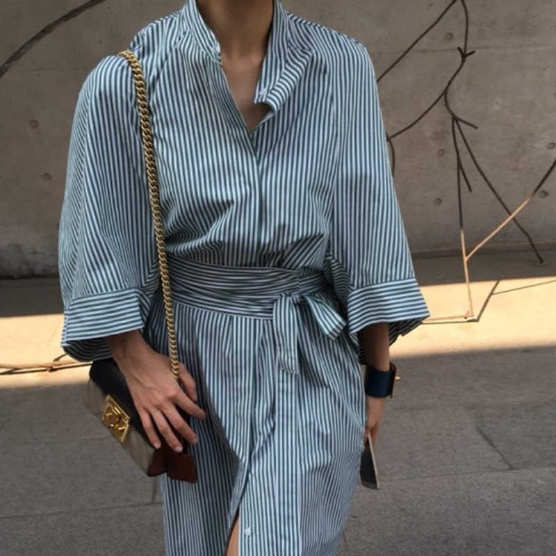 Chicever Gestreepte Shirt Jurk Vrouwen Half Mouw Revers Bandage Hoge Taille Lange Jurken Vrouwelijke Koreaanse Mode 2020 Kleding