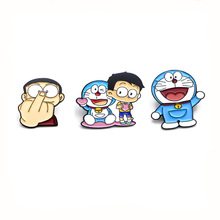 Classic Doraemon cartoon Zinc alloy tie pin badges para shirt bag clothes cap backpack shoes brooches medal decoration E0191