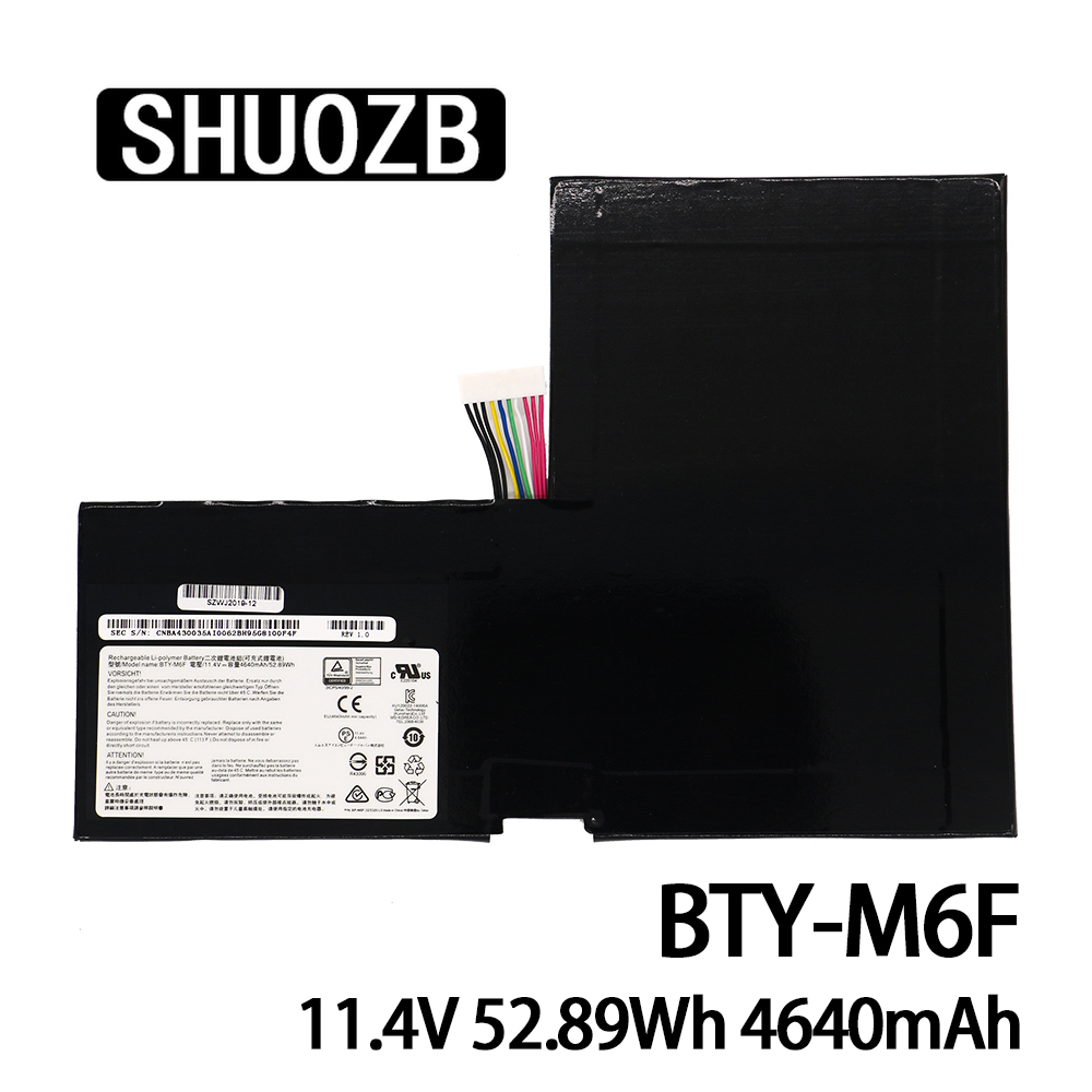 BTY-M6F Laptop Battery For MSI GS60 2PL 2QE 6QE 6QC MS-16H2 2PE MS-16H4 2QC 2QD 6QC-257XCN Series 11.4V 52.89Wh 4640mAh SHUOZB
