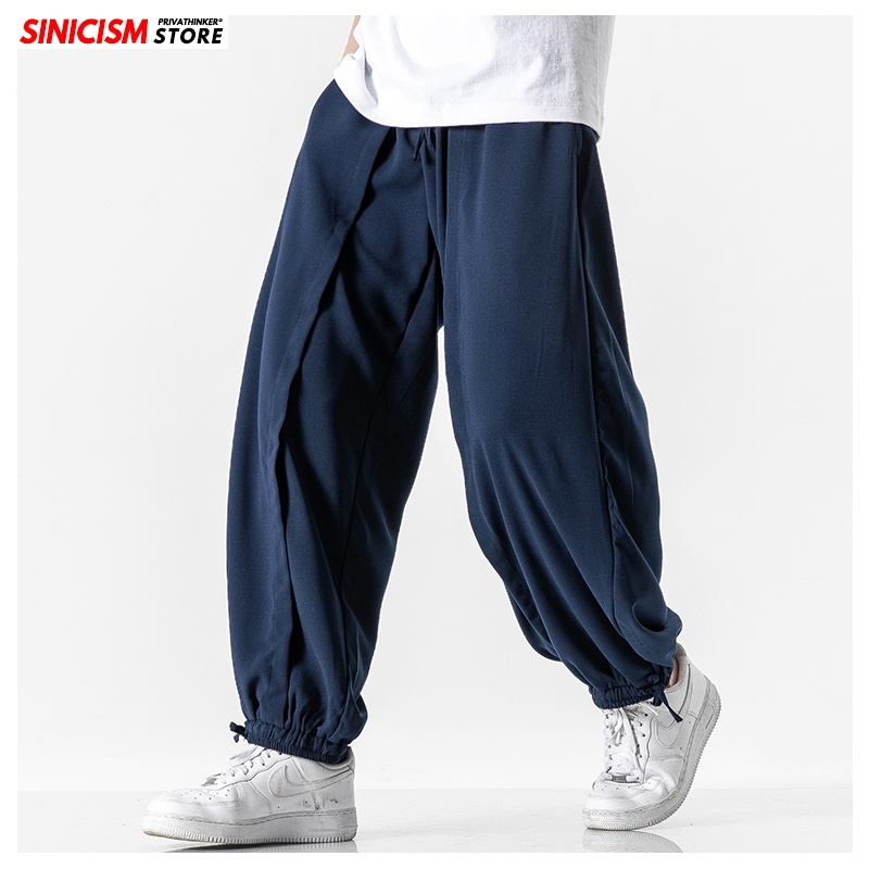 Sinicism Store Men Vintage Summer Chinese Style Harem Pants Mens Plus Size Joggers Pants 2020 Male Loose Pants Linen 5XL Bottoms
