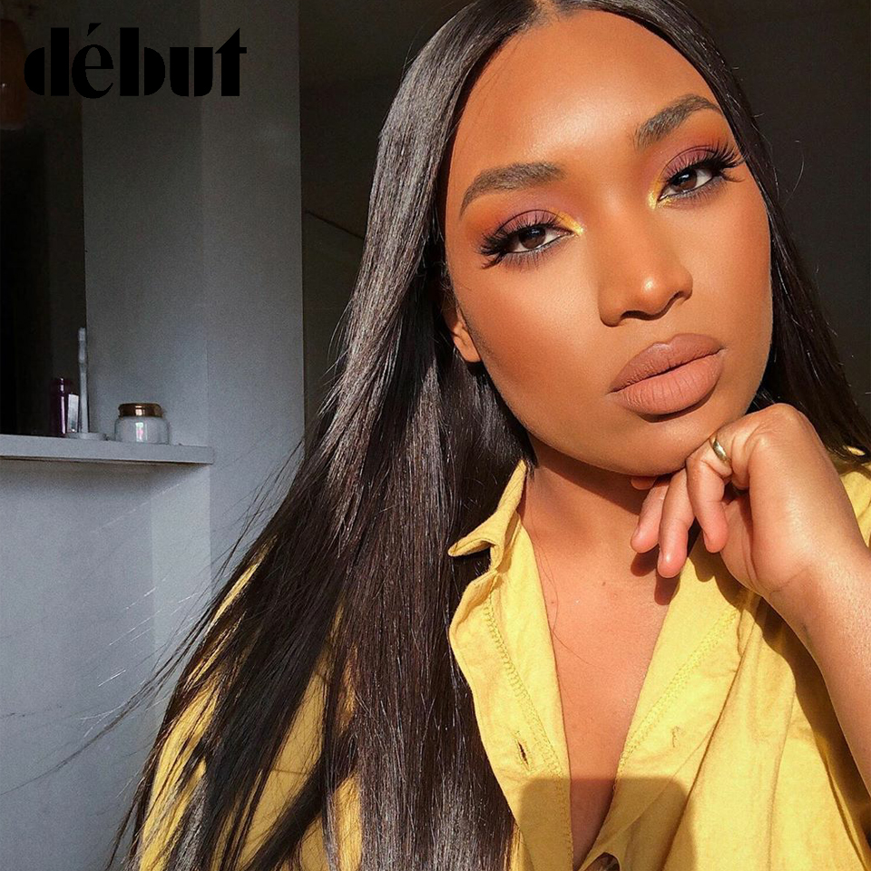Debut Lace Front Human Hair Wigs Brazilian Straight Remy Human Hair Wigs For Black Women 4x4 U Part 26 Inch Natural Black Wigs