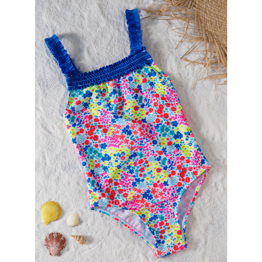 Pa Meng CHILDREN'S Swimwear Girls Printed One-piece Swimming Suit Big Boy Triangular Hot Springs Swimwear TZ410007