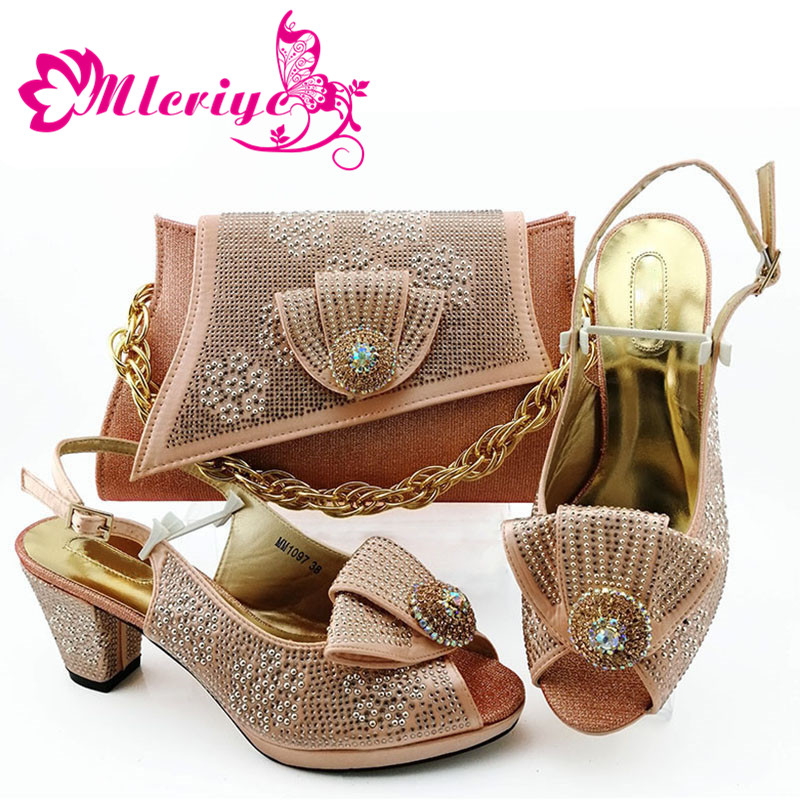 Italian-Shoes Matching-Bags Party Pumps Nigerian Elegant Women High-Quality Pointed-Toe