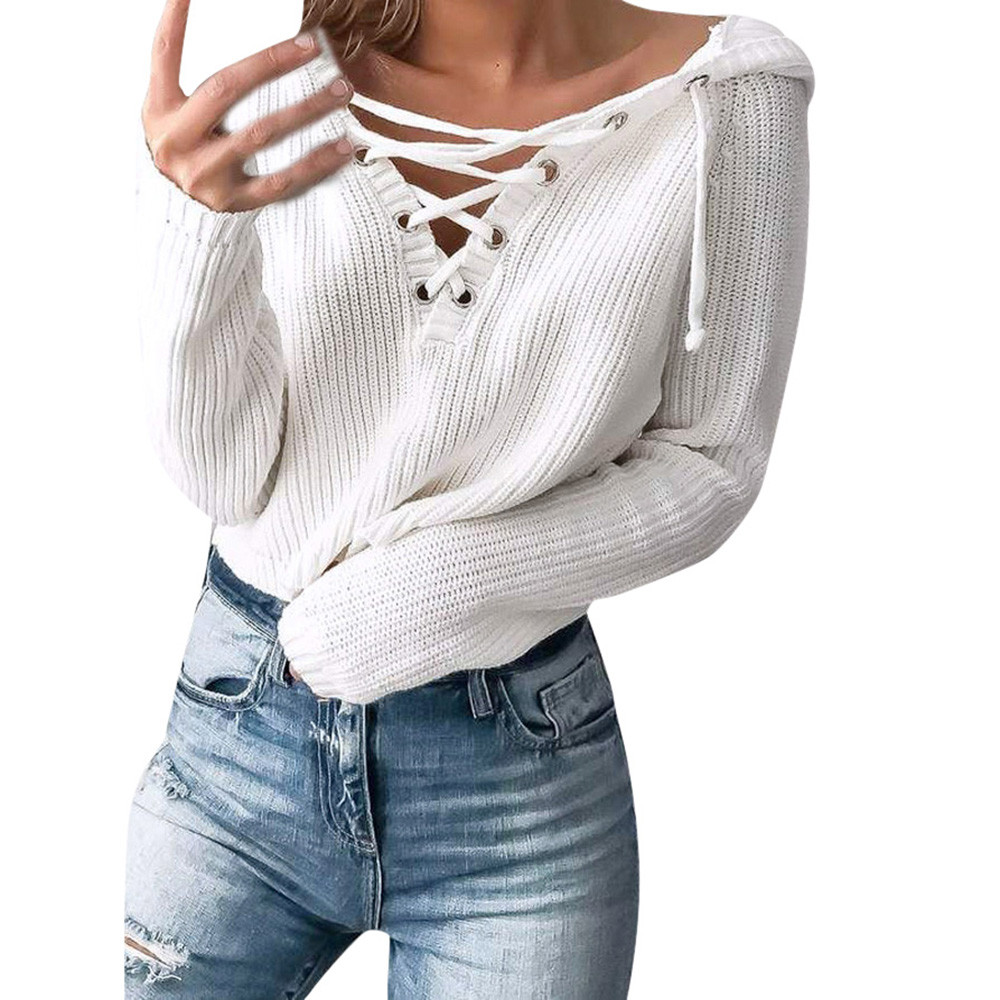 Women Winter Pullovers Sweater Baggy Lace Up Coat Chunky Knitted Oversized Hooded Jumper
