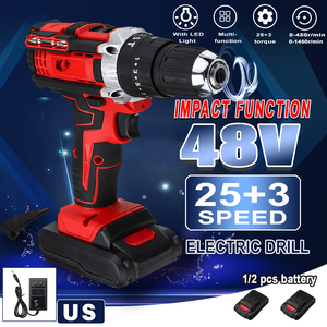 3 in 1 Cordless Electric Impact Drill Screwdriver Hammer 18 Torque 48V Dual Speed Power Tools With 2 Battery