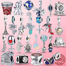 Travel Charms 925 Sterling Silver Japanese Doll Coffee Cup Plane Camera Dangle Charm Beads fit Original Pandora Bracelet Jewelry