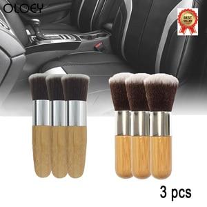 Image 1 - 3 sztuk miękkie czyścik samochodowy do czyszczenia samochodu urządzenia do oczyszczania naturalne włosie dzika szczotki do włosów Auto Detail narzędzia koła deski rozdzielczej