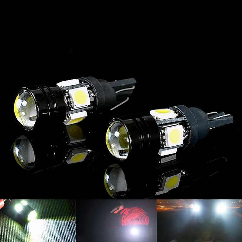 2 قطعة/PackT10 سيارة LED مصباح تلقائي 5 واط-12 فولت مصابيح كهربائية مع عدسة ثنائية البؤرة الضوء الأبيض