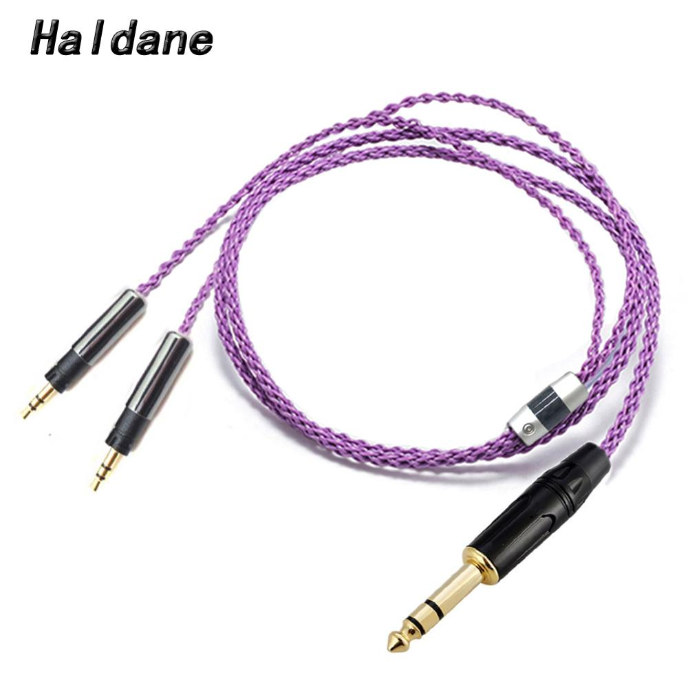 "Haldane HIFI 1/4"" 6.35 mm TRS 8 Cores 7N OCC Silver Plated R70X Headphone Upgrade Cable for ATH R70X R70X headphones