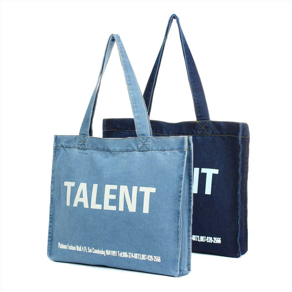 High Quality Women Denim Canvas Bags Shopping Eco Reusable Foldable Shoulder Bag Handbag Tote Bag Casual Travel Folding Bag Blue