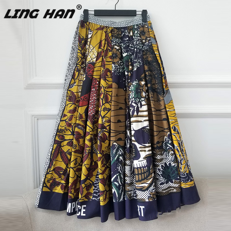 LINGHAN 2020 Early Spring Positioning Print Pattern Ladies Skirt High Quality Bow Tie Cotton Skirts Designer New