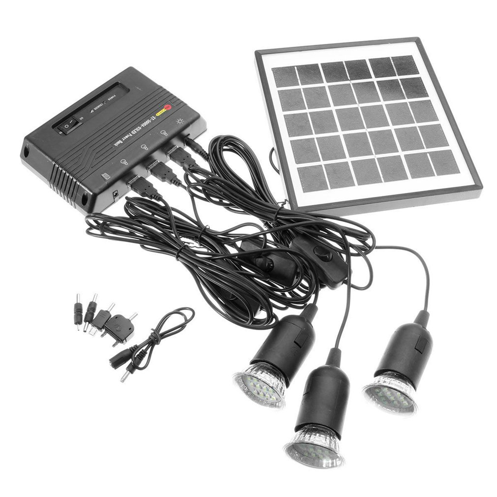 Outdoor Solar Power Led Lighting Bulb Lamp System Solar Panel Home System Kit 4W 6V Outdoor Solar Power Panel LED Light Lamp