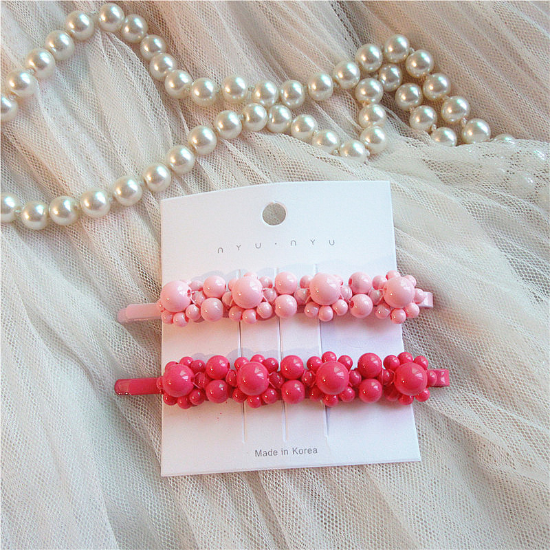 1pc 2020 new Frosted Beads Hair Clip for Women Girls Dots Hair Pins Duckbill Snap Barrette Ball Hairpin fashion Hair Accessories